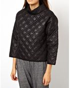 Asos Quilted Sweatshirt With Padded High Neck - Lyst