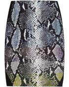 Diane von Furstenberg Mae Printed Satin-Paneled Jersey Skirt - Lyst