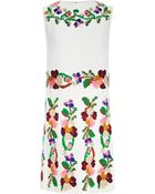 Valentino Embroidered Pleated Cady Dress - Lyst