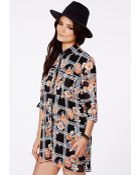 Missguided Hanna Oversized Blouse Dress In Floral Checked Print - Lyst