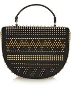 Christian Louboutin Panettone Spiked Textured-Leather Shoulder Bag - Lyst