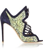 Nicholas Kirkwood Suede And Lace Sandals - Lyst