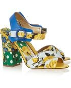 Dolce & Gabbana Printed Brocade And Leather Sandals - Lyst