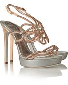 Rene Caovilla Crystal-Embellished Metallic Leather Sandals - Lyst