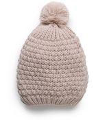 Mango Pompom Knit Beanie - Lyst