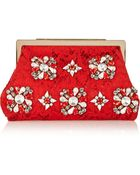 Dolce & Gabbana Sara Crystal-Embellished Lace And Satin Clutch - Lyst