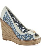Tory Burch Lucia Lace Wedge Sandals - Lyst