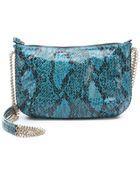 Stella McCartney Medium Blue Faux Python 'Bailey Boo' Crossover Shoulder Bag - Lyst