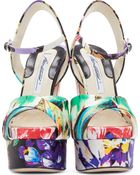 Brian Atwood Multicolored Floral Madison Platform Sandals - Lyst