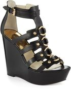 MICHAEL Michael Kors Nadine Platform Leather Wedge Sandals - Lyst