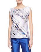 Giorgio Armani Bias-Cut Printed Silk Blouse - Lyst
