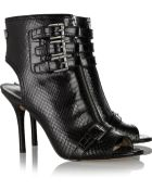 MICHAEL Michael Kors Roswell Buckled Snake-Effect Leather Boots - Lyst