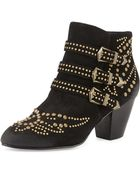 Ash Joyce Leather Buckled Studded Boot - Lyst