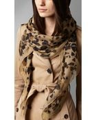 Burberry London Animal Print Scarf - Lyst