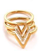 Rebecca Minkoff V Stack Rings - Gold/Crystal - Lyst