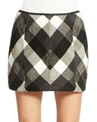 Free People Twiggy Faux Leather Trimmed Plaid Skirt - Lyst