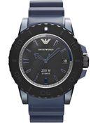 Emporio Armani Ladies Blue Aluminum And Rubber Watch - Lyst