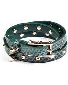 Valentino Studded Embossed Leather Wrap-Around Bracelet - Lyst