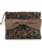 Valentino Oversized Feather-Print Calf Hair Clutch Bag - Lyst