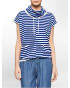 Calvin Klein White Label Striped Funnel Neck Short Sleeve Sweater - Lyst