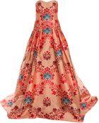 Carolina Herrera Straples Brocade Jacquard Gown - Lyst
