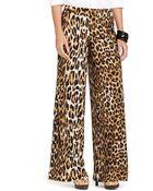 Lauren by Ralph Lauren Petite Leopard-Print Wide-Leg Pants - Lyst