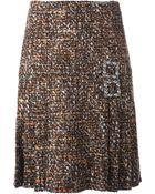 Dolce & Gabbana Pleated Tweed Skirt - Lyst