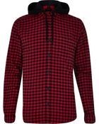 River Island Red And Black Gingham Hooded Shirt - Lyst