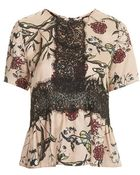 Topshop Fable Print Lace Panel Top By Boutique - Lyst