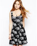 Asos Skater Dress in Elephant Print - Lyst
