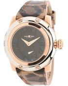 Glam Rock 40mm Rose Gold Plated Watch with Leopard Patent Leather Strap - Lyst