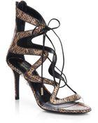 Nicholas Kirkwood Snakeskin Lace-Up Sandals - Lyst