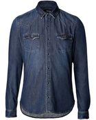 The Kooples Washed Denim Shirt - Lyst