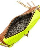 Rebecca Minkoff Mini Mac Twotone Crossbody Bag Almondneon Yellow - Lyst
