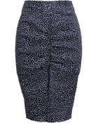 Nina Ricci Dot Print Linen Pencil Skirt - Lyst