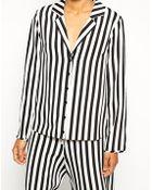 Asos Mono Stripe Pajama Top - Lyst