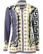 Versace Flag Print Silk Blouse - Lyst