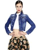 DSquared² Nonna Patch Wash Denim Cropped Jacket - Lyst
