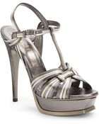 Saint Laurent Tribute Metallic Leather Platform Sandals - Lyst