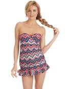 Jessica Simpson Madison Ruffled Print Swimdress - Lyst