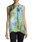 Lafayette 148 New York Caden Sleeveless Palm-Print Blouse - Lyst