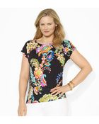 Lauren by Ralph Lauren Floral Stretch Cotton Tee - Lyst