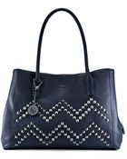DKNY Tumbled Leather Studded Shopper - Lyst