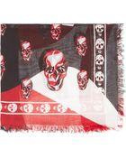 Alexander McQueen Red Matisse Skull Print Fringed Scarf - Lyst