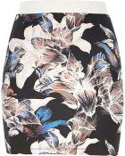 River Island Purple Lily Print Pull On Mini Skirt - Lyst