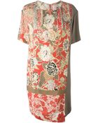 Etro Oriental Flower-Print Silk Dress - Lyst