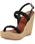 Valentino Braided Leather Double-Strap Espadrille - Lyst