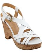 Ivanka Trump Handy Leather Wedge Sandals - Lyst