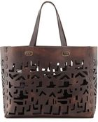 Donna Karan New York Small Laser-Cut Leather Tote Bag - Lyst