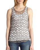 Eileen Fisher Jewel Open-Weave Shell - Lyst